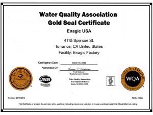 WQA Gold Seal Certificate